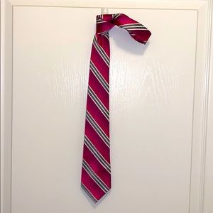 Men's express pink and silver stripe silk tie